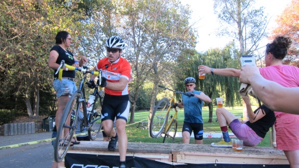 Amos refuses a beer in the Jortz + Superpro Racing Beer Gauntlet on the Barrier of Unreasonable Height.