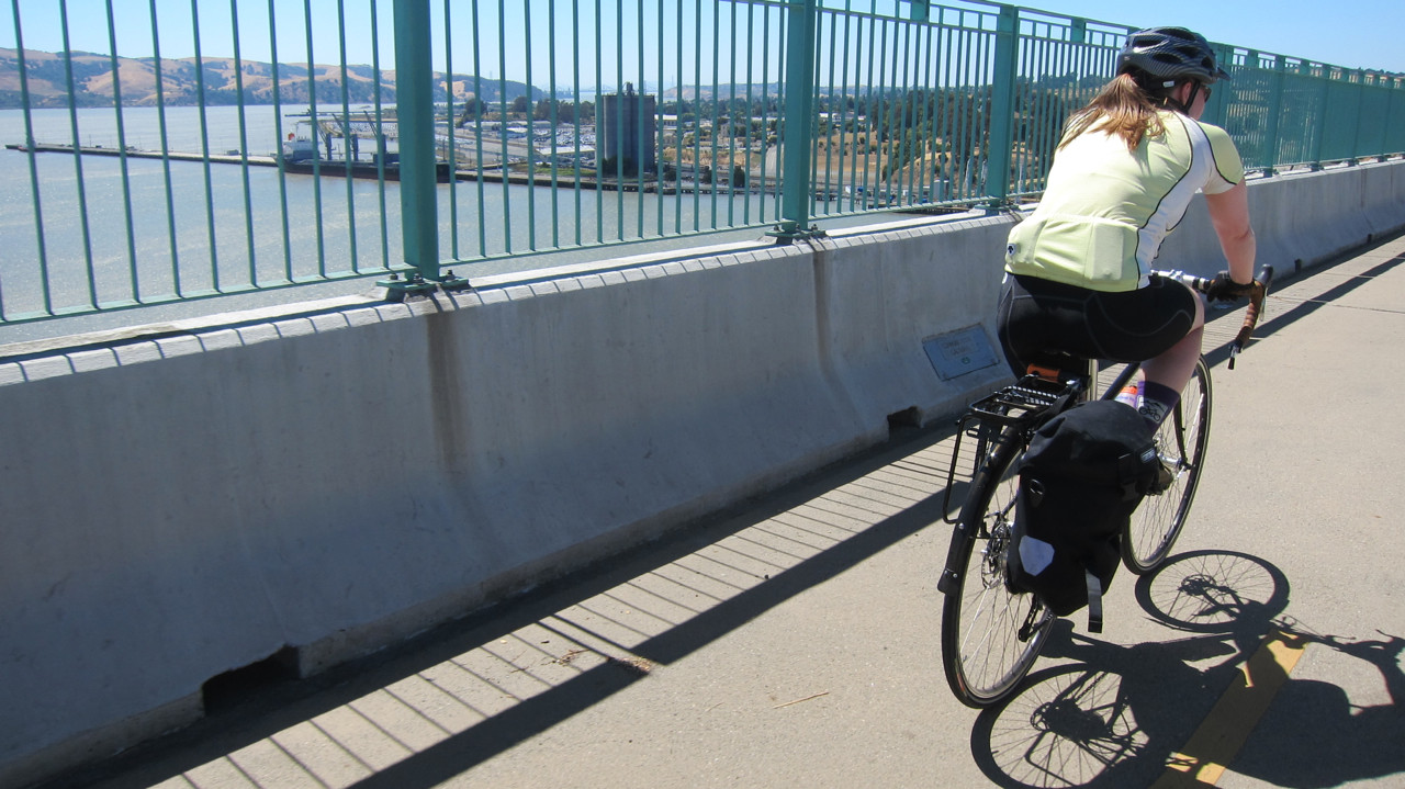 Ellen crosses the Benicia Bridge